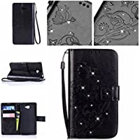 Casefirst Sony Xperia M2 wallet case Sony Xperia M2 case,Premium Design PU Leather & Soft TPU Built-In Card/Cash Slots,Wallet Case By (Black)