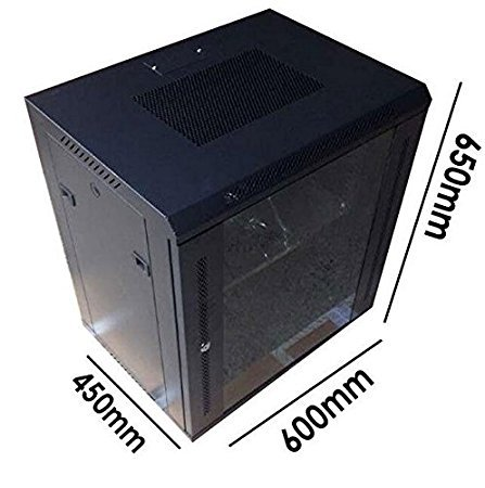 szfmmy® Heavy Duty 12U 48,3cm Netzwerk Schrank Rack Wand montiert 650* 600* 450mm Schwarz Daten Rack Netzwerk/LAN Hängeschrank COMMS Patch Panel schwarz