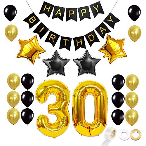 Juland 30. Geburtstag Luftballons Dekoration Happy Birthday Banner Party Zubehör Sets für Männer Boy Folienballons Gold Silber Schwarz Dekor mit Folienballon Star Latex Ballon (Party Star Dekorationen)