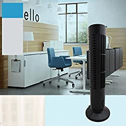 Mini Desktop USB Tower Fan, Bladeless No Leaf Air Conditioner Cooling Cool Desk Fan, 2-Speed Avalable and Silence, Black