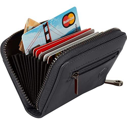 Kartenetui mit Münzfach - Kreditkartenetui aus Leder mit viel Platz für bis zu 20 Karten - Geldbörse für Damen und Herren mit RFID NFC Schutz (Schwarz) -