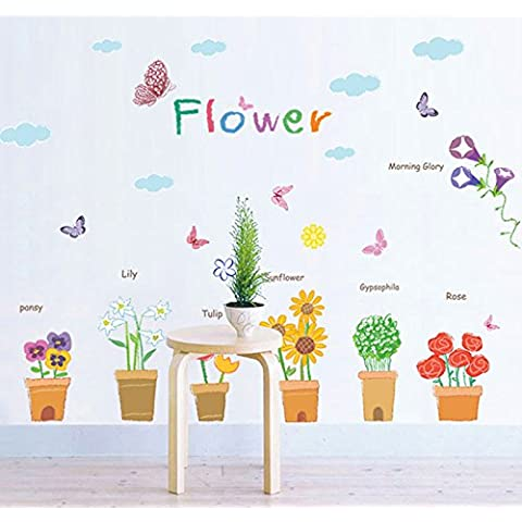 Istruzione vaso di fiori per bambini Adesivi da parete per bambini Camera da letto Camera dei bambini sfondo della decorazione domestica decalcomanie - Vinile Vasi