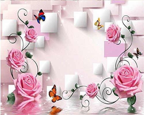 Custom-classics Sofa (Lqwx3d wallpaper Rose Blume Weinstock TV Hintergrund Wand Custom Classic Indoor Wallpaper papel de parede Wand Papier-350cm x 245 cm)