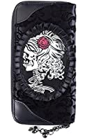 BANNED SKULL AND ROSE CAMEO SKULL STEAMPUNK GOTH TATTOO PURSE WALLET BEDLAM
