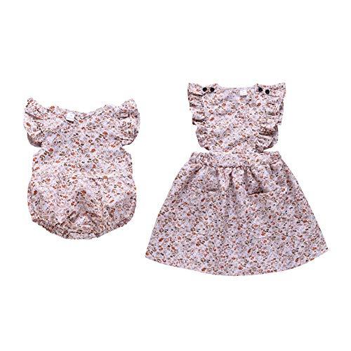 Anywow Schwestern Maching Kleidung, Baby Kinder Mädchen Blumenkleid Kleine Schwester Strampler Jumpsuit Bodysuit Geschwister Sommer Kleid 0-6J
