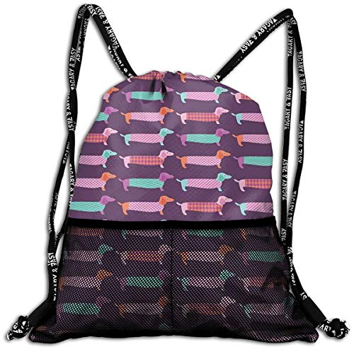 EELKKO Mesh Beam Backpack Lightweight Foldable Large Capacity Drawstring Casual Rucksack, Sixties Inspired Color Palette with Abstract Pet Puppies Pattern Funky Animals,Unisex Fitness Bag 49ers-pet-set