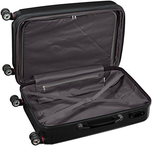 Packenger Koffer - Stone (L), Schwarz, 4 Zwillingsrollen, 81 Liter, 3,5Kg, 66cm, Koffer mit TSA-Schloss, Erweiterbarer Hartschalenkoffer (Polycarbonat) reißfester Trolley Reisekoffer, glänzend - 6