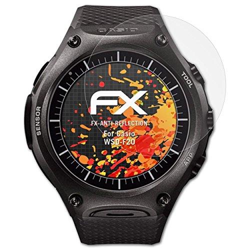 atFoliX Panzerfolie kompatibel mit Casio WSD-F20 Schutzfolie, entspiegelnde & stoßdämpfende FX Folie (3X)