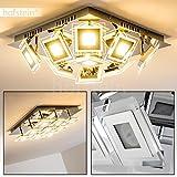 Deckenlampe LED 9-flammig – Cerreto Deckenleuchte in Chrom mit quadratischen Glas Lampenschirmen – Leuchtköpfe verstellbar - je 400 Lumen – 3000 Kelvin – sehr ausgefallene Deckenlampe aus Metall
