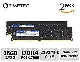 Timetec Hynix IC 16GB Kit (2x8GB) DDR4 2133MHz PC4-17000 Unbuffered Non-ECC 1.2V CL15 2Rx8 Dual Rank 288 Pin UDIMM Deskt