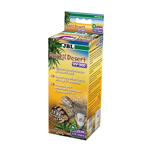 JBL ReptilDesert UV 300 61851 Energiesparlampe für kleine Wüstenterrarien, Hoher UV-Anteil, 15 W, E 27