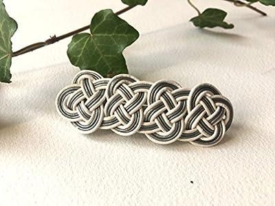 barrette - tressage en cordes de cuir - blanc et gris - 7cm