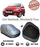 Fabtec Silver Car Body Cover With 2 Sun Shades For Tata Indica V2
