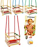 3 Stück _ Kinderschaukeln / Schaukel aus Holz - Gitterschaukeln - mitwachsend & verstellbar - leichter Einstieg ! - Babyschaukel - Kleinkindschaukel verstellbar - Holzgitterschaukel für Innen und Außen - mit Sicherheitsstäben / bunte Stäbe - Holzbabyschaukel - Holzschaukel Baby Kinder