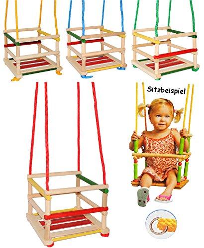 alles-meine.de GmbH 1 Stück _ Kinderschaukel / Schaukel aus Holz - Gitterschaukel - mitwachsend & verstellbar - Leichter Einstieg ! - Babyschaukel - Kleinkindschaukel verstellbar..