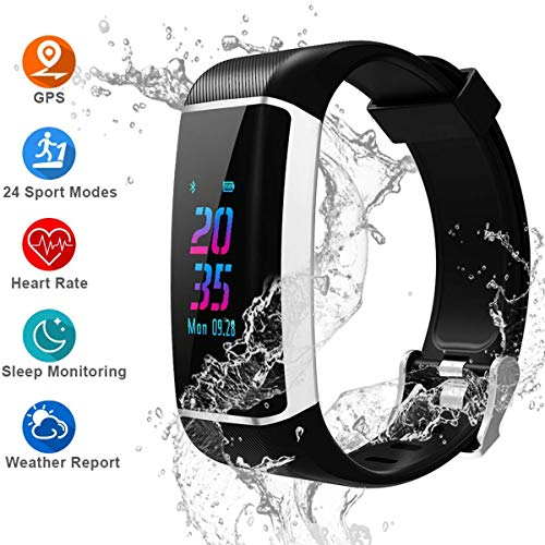 ZZADD GPS Fitness Tracker, Color Screen Activity Tracker Watch with Heart Rate Monitor, Built-in GPS,with 24 Sport Modes, IPX67 Waterproof Bluetooth Smart Wristband with Step Counter, Calorie Counte
