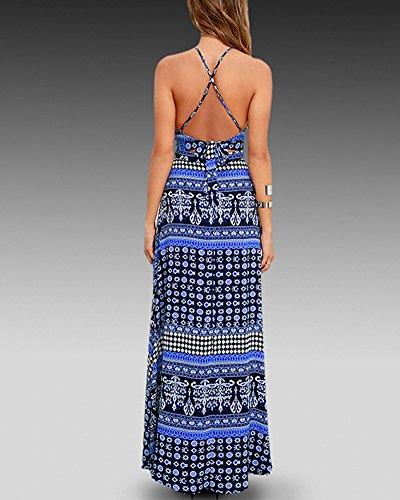 Damen Elegant Strandkleid Maxikleid Strap Partykleid Sommerkleider Cocktailkleid Ärmellos Crop Tops + Maxikleid Blau