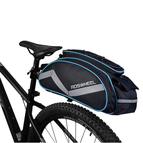 Bicycle Waterproof Rear Seat Trunk Bag with Should Strap, Blue (Fahrrad-rad-tasche)