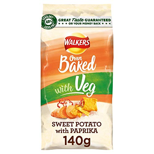 Walkers Oven Baked Sweet Potato and Paprika Sharing Crisps, 140 g (Case of 6)