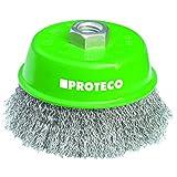 Proteco-Werkzeug® Topfbürste Drahtbürste Flächenbürste 100 mm gewellter Edelstahldraht V2A 0,30 mm Gewinde M14 x 2,0 für Winkelschleifer