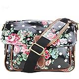 Miss LuLu Ladies Oilcloth Floral Polka Dot Messenger Satchel Shoulder School Bags G1108