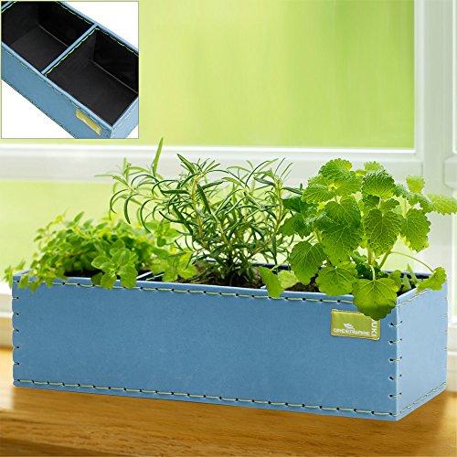 Pot de fleurs 6 L - Bac à fleurs avec 3 cases - Plantation Jardin Balcon Bleu