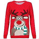 Renne de Noël tricoté de Noël de nouveauté de mens, au pull de pub taille S-2XL noir rouge (3D Pom Pom Red, Small)