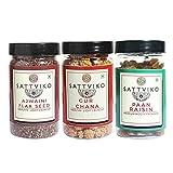Sattviko One Each of Flax Seeds, Paan Raisin, Gur Chana, 310g (3 Pack)