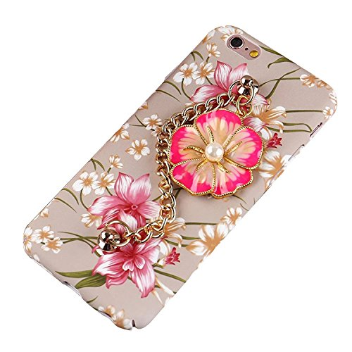 Sunroyal Coque pour iPhone 6 Plus 6S Plus (5,5 pouces) Case 3D Diamant Bling Pearl Luxe Cae Housse PC Plastic Hard Back Cover Ultra Slim Bling Strass Motif Camélia étincelle Bling Brillant Bracelet Sk Fleur 03