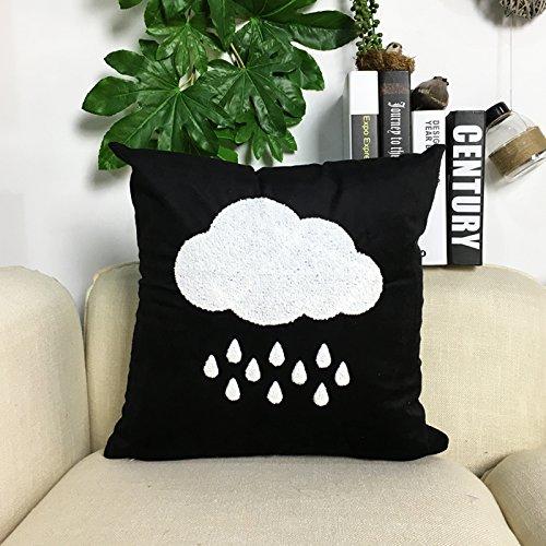 Blanco y Negro Lluvia Nube y gotas de lluvia, de terciopelo funda para cojín, monocromo