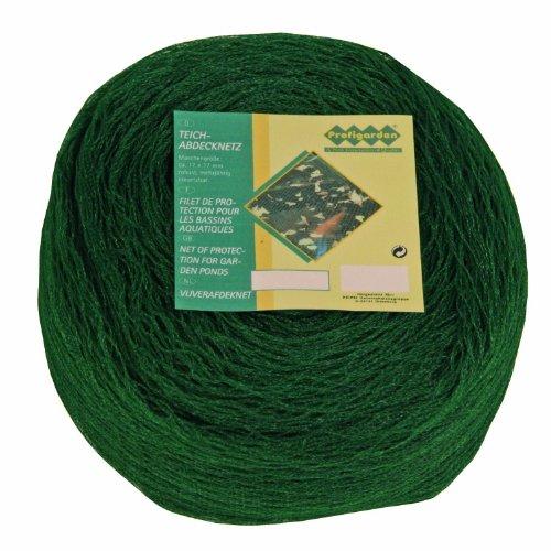 Profigarden 257148 Teichabdecknetz 6 x 10 m,  Maschen 17 x 17 mm, inklusive 10 Netzankern, dunkelgrün