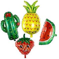 Idea Regalo - Vordas 4 Pezzi Frutti Palloncini Foglio di Alluminio Mylar Elio Palloncino - Anguria / Ananas / Cactus / Fragola, Palloncini Animali Elio - L'elio è Permesso (Dimensioni: 40-80cm)