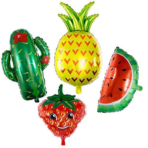 Vordas Ballon d'Aluminium Géant Gobflable Früchte Ballons - Wassermelone / Ananas / Kaktus / Erdbeere, Sommer Hawaii Tropical Party Supplies Luau Party Favors (Größe: 40-80cm)