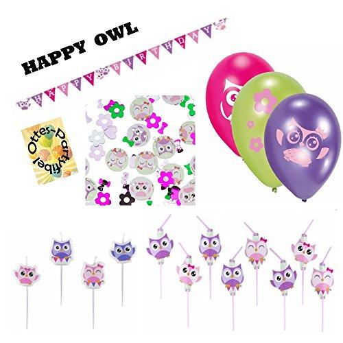 Happy Owl Lustige Eule Partyset Dekoset Eulen-Trinkhalme Luftballons Wimpelkette Kerzen ()