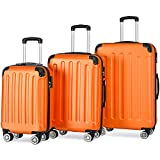 Flieks® ReiseKoffer Hartschale Trolley Koffer Gepäck-Sets mit 4 Doppel-Rollen, Set-XL-L-M (Orange, Koffer-Set)