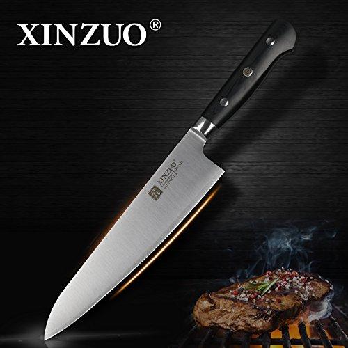 High Küchenmesser Carbon (XINZUO 8 Zoll Kochmesser aus 3 Schichten 440C Core Clad Stahl Küchenmesser Composite-Stahl Gyutou Messer n Messer Slicing Knife High Carbon Edelstahl Cleaver Messer G10 Griff)
