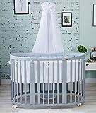 ComfortBaby ® SmartGrow 7in1 Multifunktionales Baby- und Kinderbett Grau mit Bettset Weiss (5 Fach zertifiziert nach DIN-EU Sicherheitsnorm)