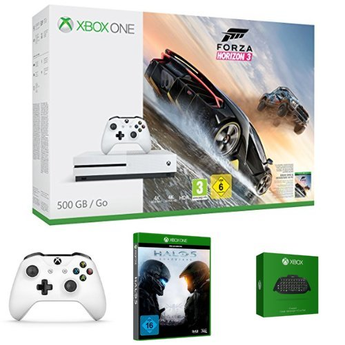 Xbox One S 500GB Konsole - Forza Horizon 3 Bundle + Halo 5: Guardian + zwei Xbox Wireless Controller Weiß + Xbox One Chatpad QWERTZ (Forza Horizon 5)