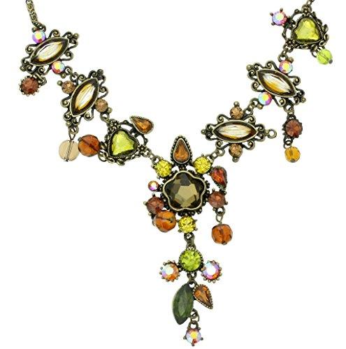 Behave Antike Goldfarbe Halskette für Frauen - Hübsche Halskette in grüne Farbe mit braunen Perlen - Elegante Halskette für sie