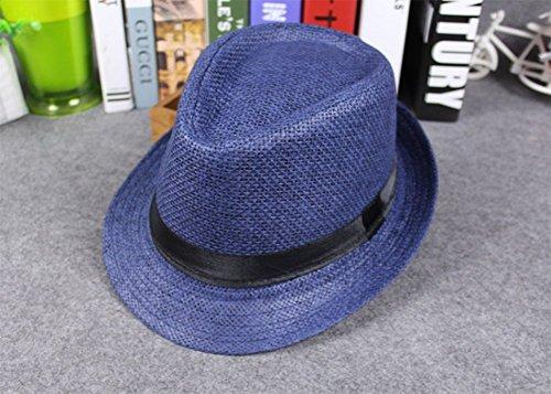 Leisial Paille Tissage Tissu à Mailles Respirant Unisexe Panamas Chapeau de Soleil pour Été Plage de Sable Voyage Bleu