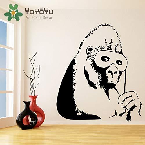 Banksy Vinyl Wandtattoo Gorilla Eine Farbe Affe mit Maske Wohnkultur Aufkleber Schimpanse Street Art Graffiti Aufkleber DIY Wandbildcm 112x99cm -