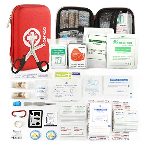 HONYAO Kit di Pronto Soccorso - 225 Pezzi Impermeabile Sopravvivenza Kit Medico Impostato per Viaggi All\'aperto Escursionismo Campeggio Pesca, Auto Casa e Luogo di Lavoro Pronto Soccorso