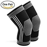 PACEARTH Knee Compression Sleeve 1 Pair Sports Sleeve Recovery Brace Relieves Joint Knee Pain for Running Jogging Basketball CrossFit