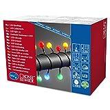 Konstsmide 3696-507 LED Globelichterkette mit großen runden Dioden/für Außen (IP44) / 24V Außentrafo / 80 bunten Dioden/schwarzes Kabel