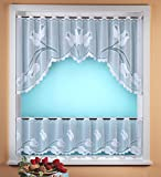 Gardine Scheibengardine C-Bogen Set 2-teilig in rein weiß mit Tulpen
