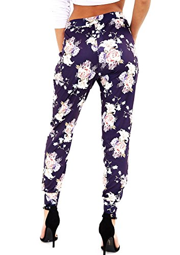 Ladies Floral Print Harem Ali Baba Cuffed Ankle Mid Rise TRS Pants Trousers Summer Paisley Pyjama Baggy Leggings