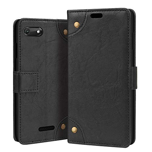 RIFFUE® Wiko Harry2 Hülle, Wiko Tommy3 Plus Vintage PU Ledertasche Brieftasche Business-Stil Handyhülle Case Cover für Wiko Harry2 (6,5 Zoll) - Schwarz