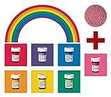 yagma Lebensmittelfarben im Spar-Set 6 x 28 g - Regenbogenmix plus BONUS: (Rose)