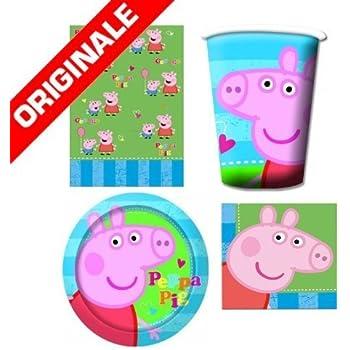 OFFERTA SET COMPLETO PEPPA PIG FESTA (16 piatti, 16 bicchieri, 32 tovaglioli, 1 tovaglia)
