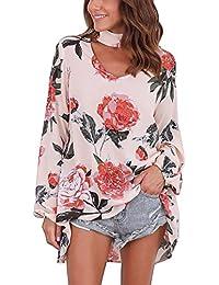 ISASSY Women's Floral Print Long Sleeve Choker V Neck Loose Tops Blouse T Shirt